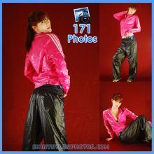 Shiny nylon black pant and pink jacket