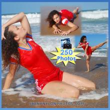 wetlook in Red Adidas nylon shorts and red t-shirt